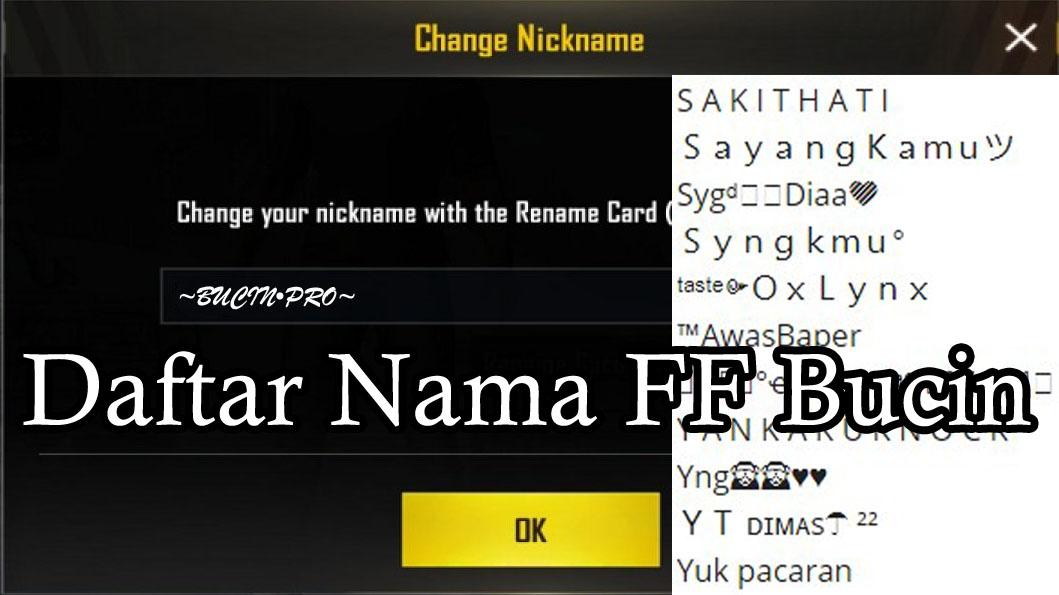 Daftar Nama FF Bucin